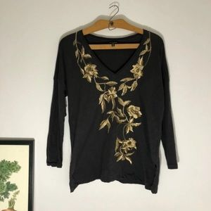 Lucky Brand long sleeve top with gold embroidery